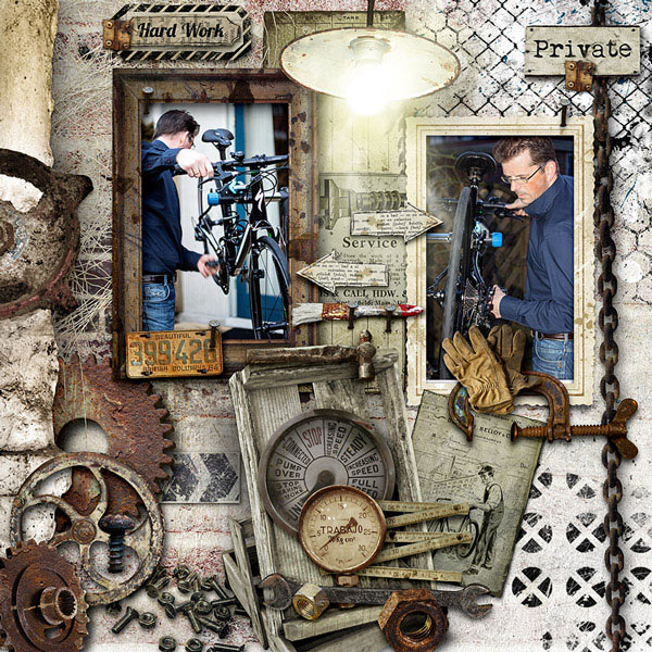 Man digital scrapbooking inspiration layout