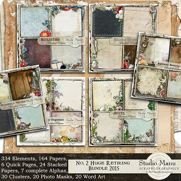 Digital scrapbook retiring stacked papers