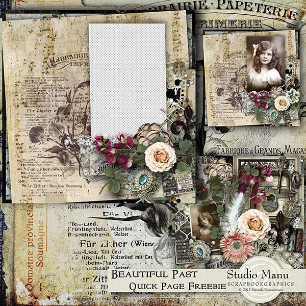 beautiful past scrapbook quick page freebie