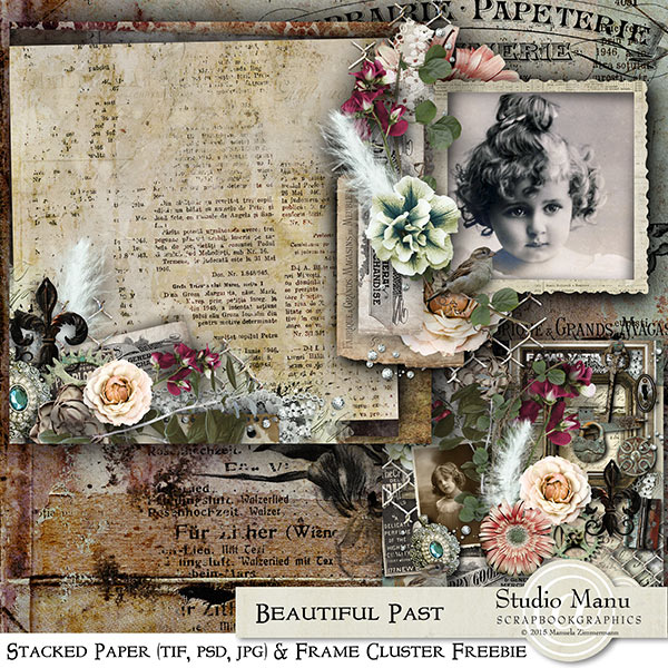 Digital scrapbooking freebie stacked paper + cluster frame