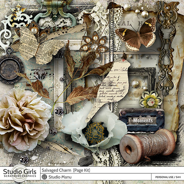 Salvaged Charm Vintage Scrapbooking Page Kit