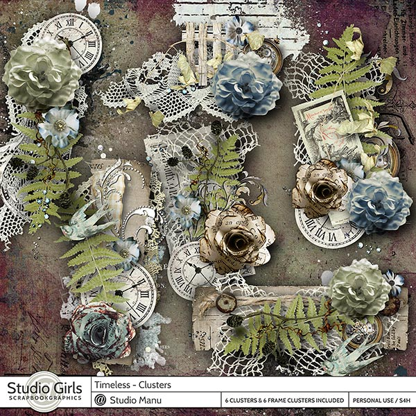 Timeless Digital Scrapbooking Clusters