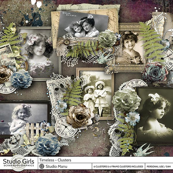 Timeless Digital Scrapbooking Cluster Frames