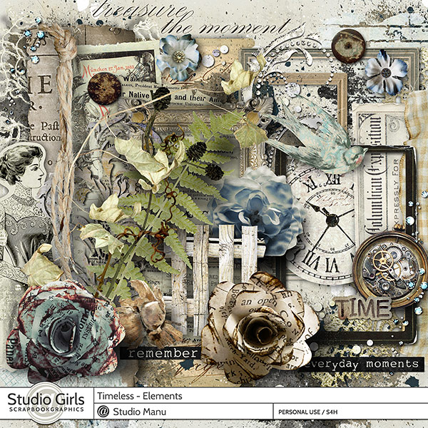 Timeless Digital Scrapbooking Page Kit