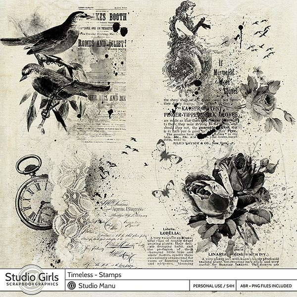 Timeless Digital Scrapbooking Stamps and Brushes