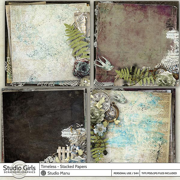 Timeless Digital Scrapbooking Stacked Papers