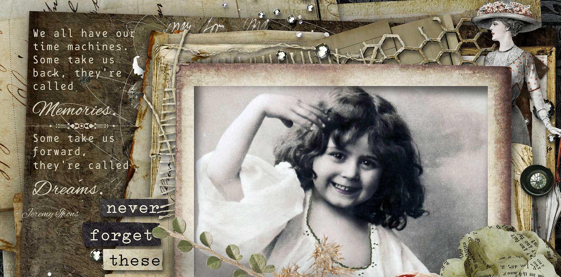 In Those Days - Vintage Scrapbooking Page Kit