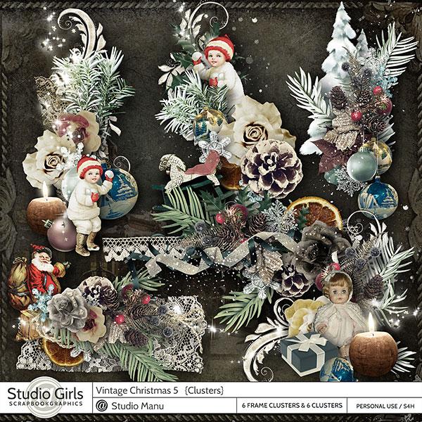 Vintage Christmas Digital Scrapbooking Clusters