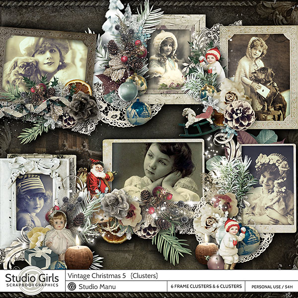 Vintage Christmas Digital Scrapbooking Frame Clusters