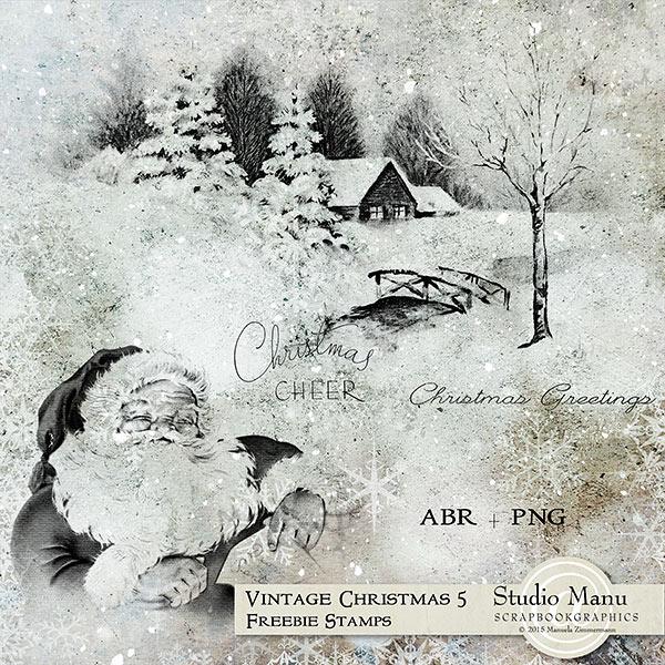 Vintage Christmas Stamps Brushes Freebie