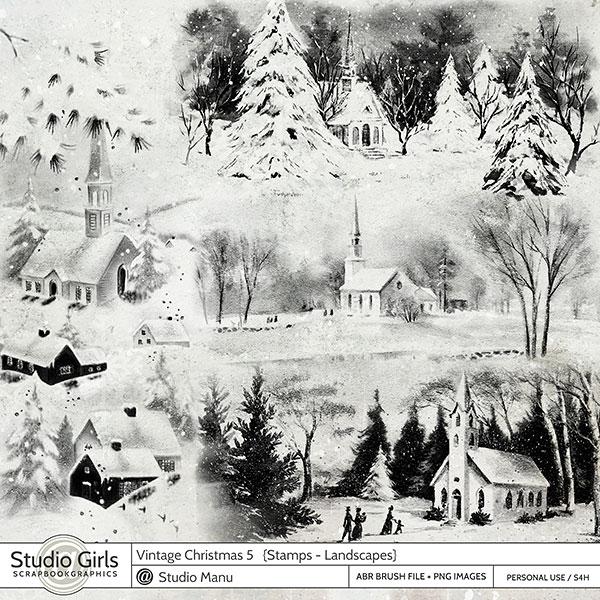 vintage christmas stamps landscapes