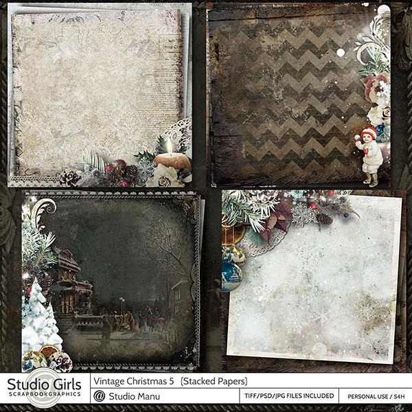 Vintage Christmas Digital Scrapbooking Stacked Papers