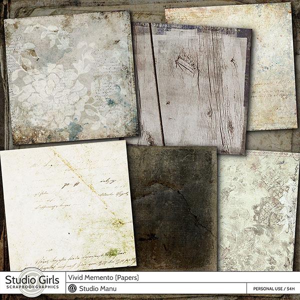 Vivid Memento Digital scrapbooking papers