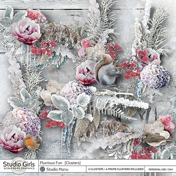 Digital Scrapbooking Winter Clusters