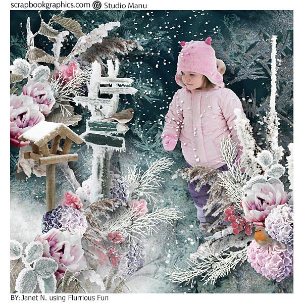Digital Scrapbooking Winter Inspiration Layout
