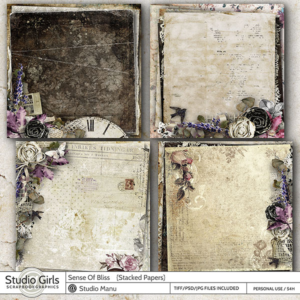 Vintage Scrapbooking Stacked Papers