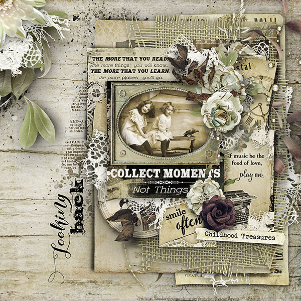 Digital Scrapbook Page using Pocket Cards
