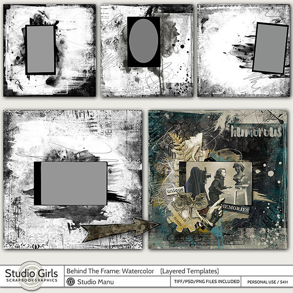 layered templates: Behind The Frame Watercolor