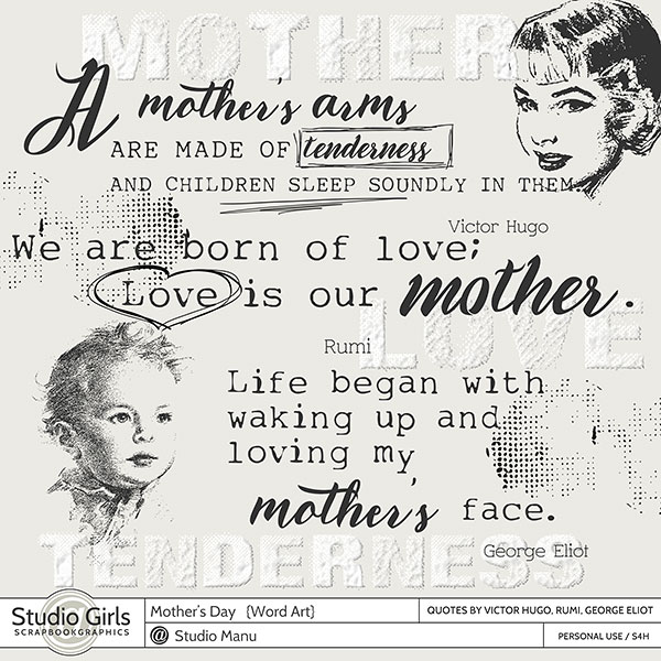 Mother's Day Word Art Scrapbooking