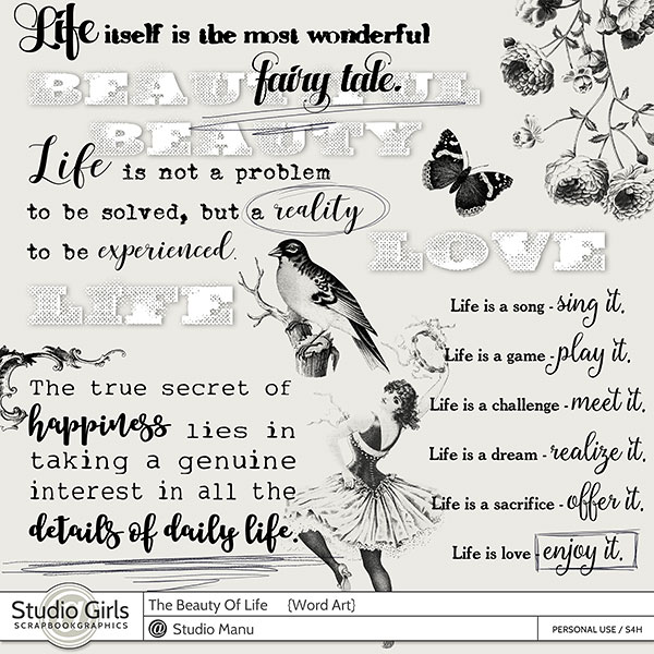 The Beauty Of Life - Scrapbook Word Art