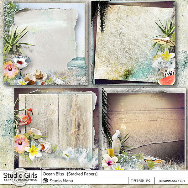 Summer Scrapbooking Stacked papers Ocean Bliss