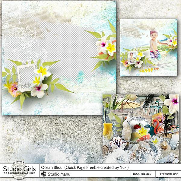 Ocean Bliss Summer Digital Scrapbook Free Quick Page