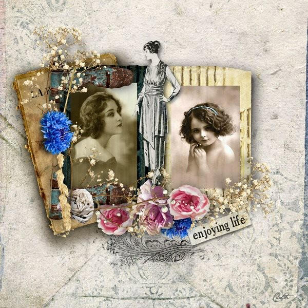 Vintage Digital Scrapbooking Inspiration Layout