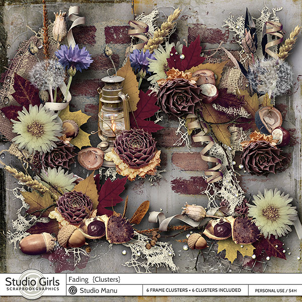 Fading Autumn Scrapbook Clusters