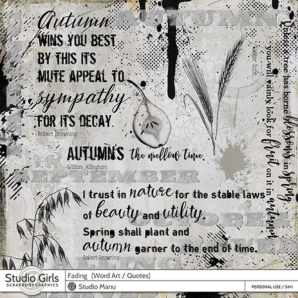 Fading - Vintage Autumn Word Art