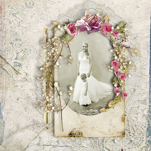 Free Vintage Scrapbooking Quick Page and Frame Cluster