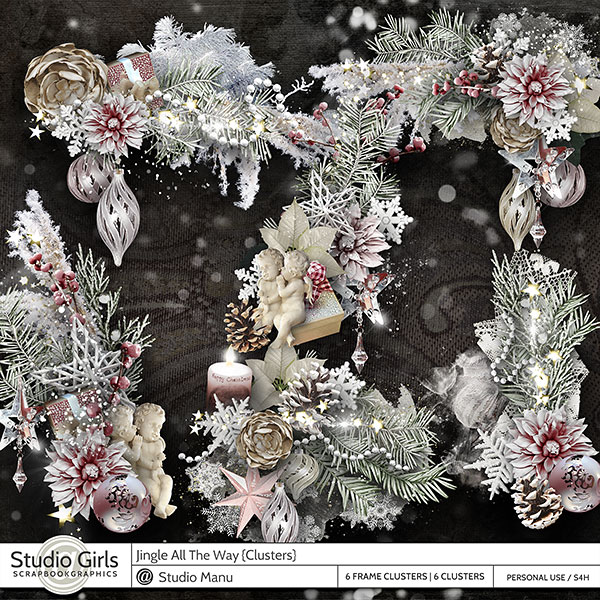 Digital Scrapbook Frames Clusters Winter Christmas Jingle All The Way