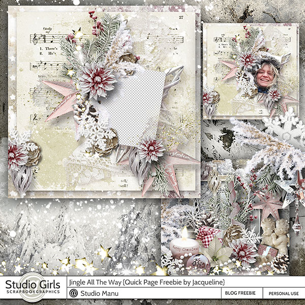 Christmas Scrapbooking Freebie Quick Page by Jacqueline