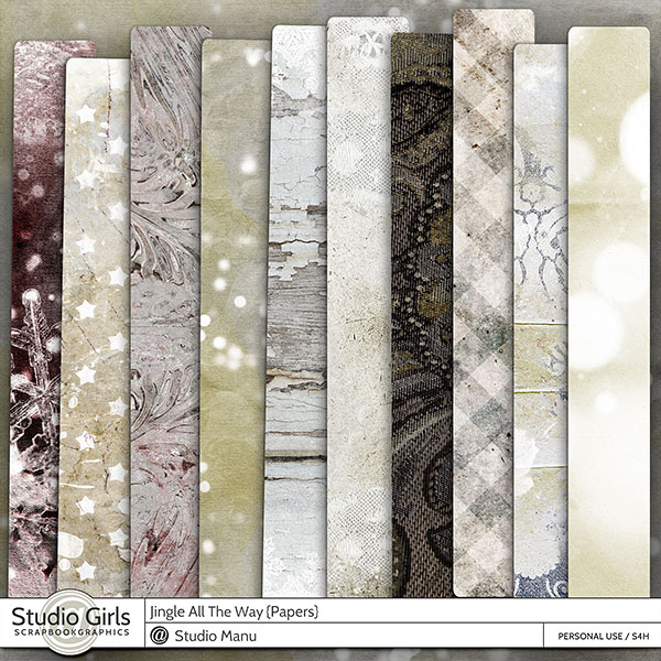 Digital Scrapbook Papers Backgrounds Winter Christmas Jingle All The Way