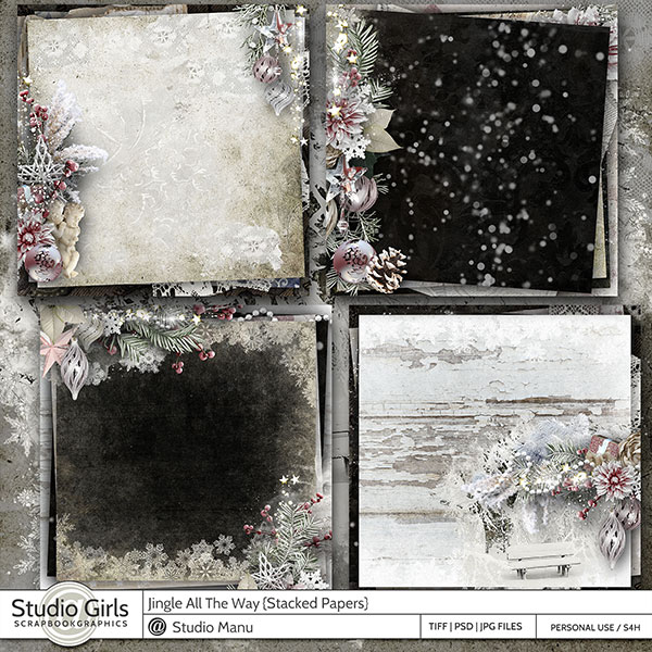 Digital Scrapbook Stacked Papers Winter Christmas Jingle All The Way