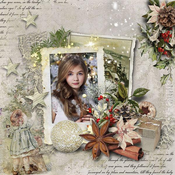 Vintage Christmas Scrapbook Inspiration Layout