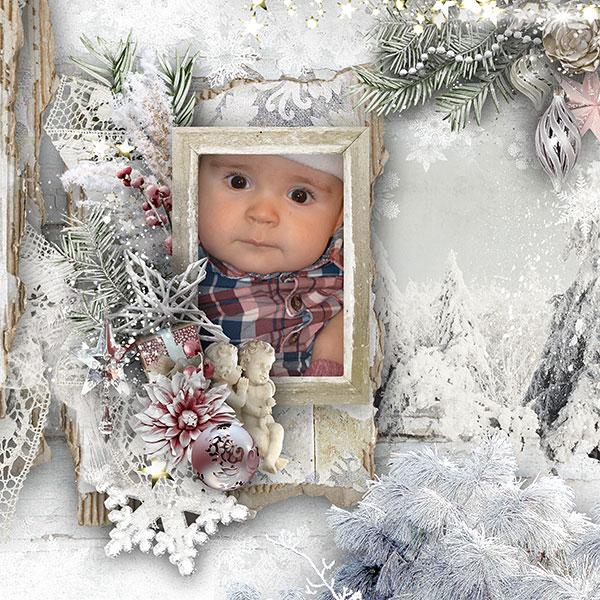 Christmas Winter Scrapbooking Inspiration Layout