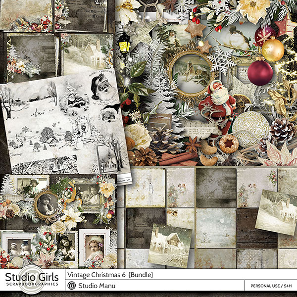 Vintage Christmas Digital Scrapbook Collection