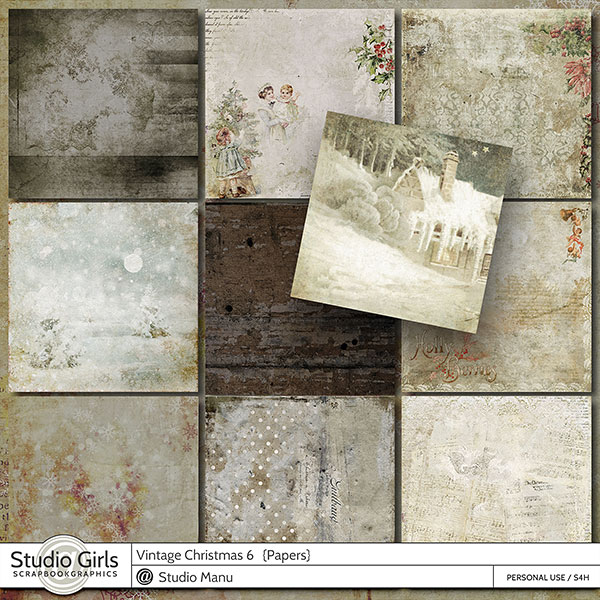 Vintage Christmas Digital Scrapbooking Paper Pack