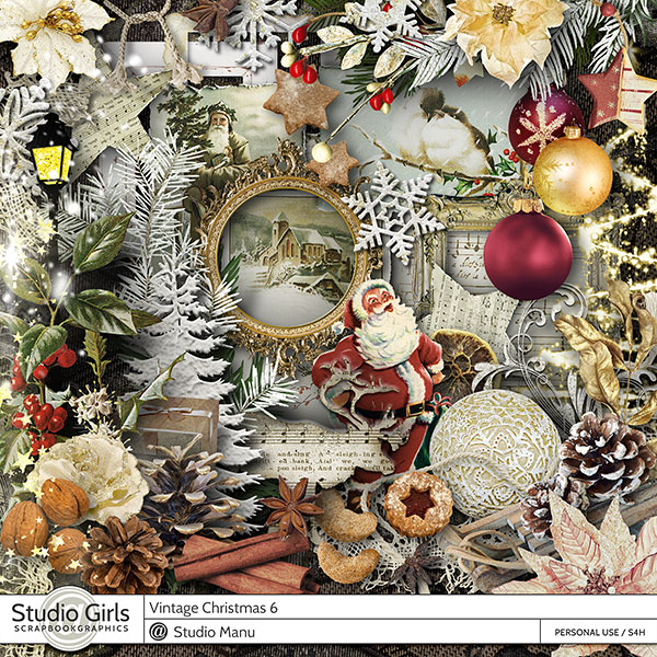 Vintage Christmas Digital Scrapbook Kit