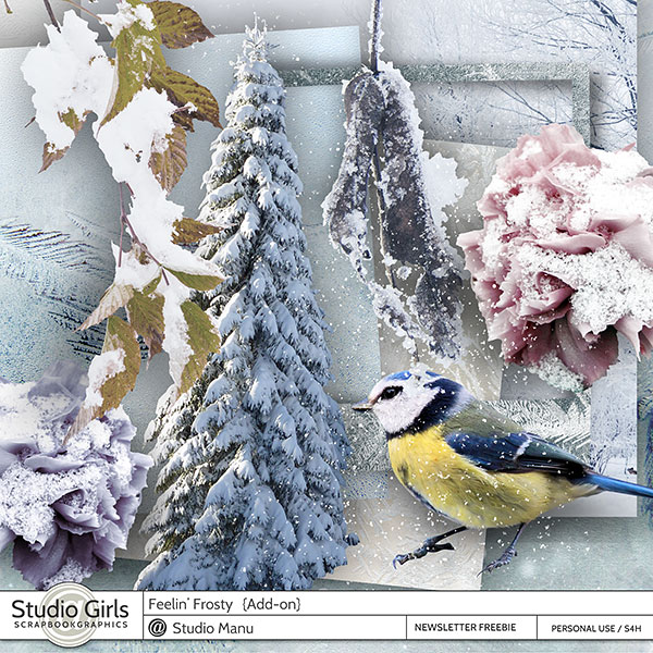 Winter digital scrapbook freebie mini kit