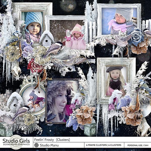 Winter digital scrapbook cluster frames