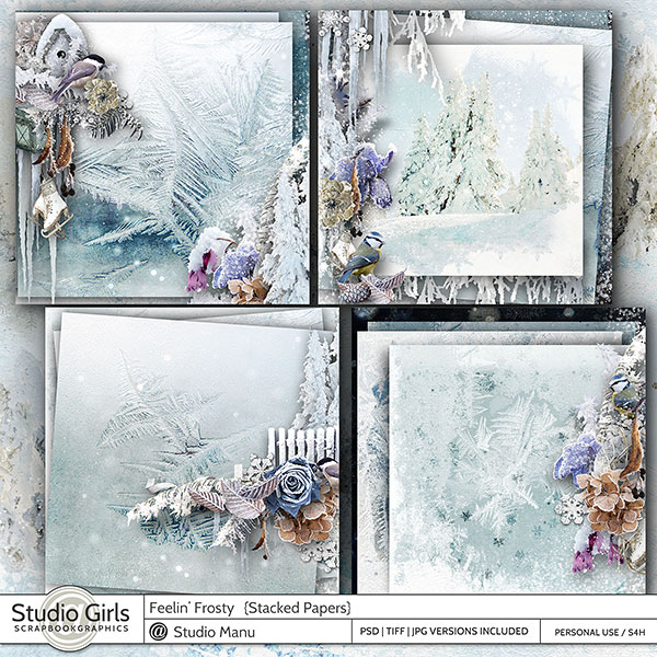 Winter Scrapbooking Stacked Papers