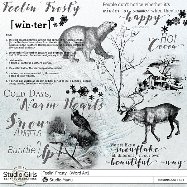 Winter Word Art and Stamps