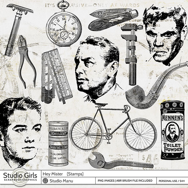 Masculine Stamps and Photoshop Brushes