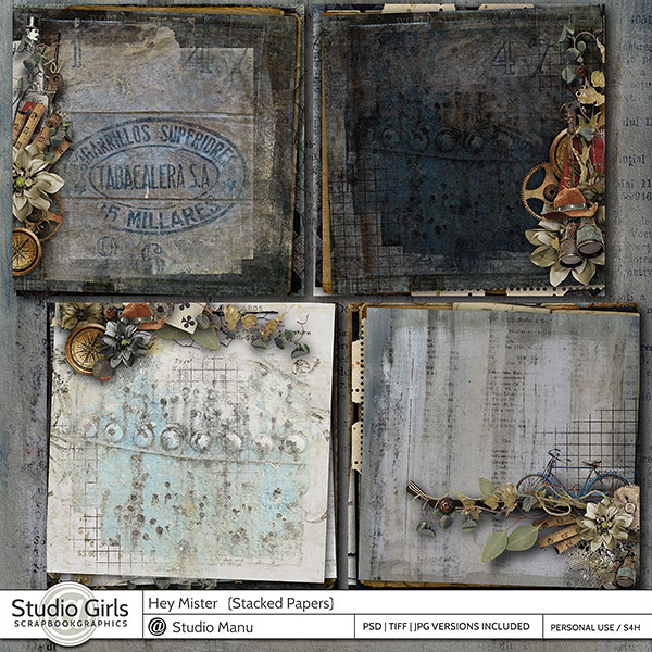 Masculine Scrapbooking Stacked papers