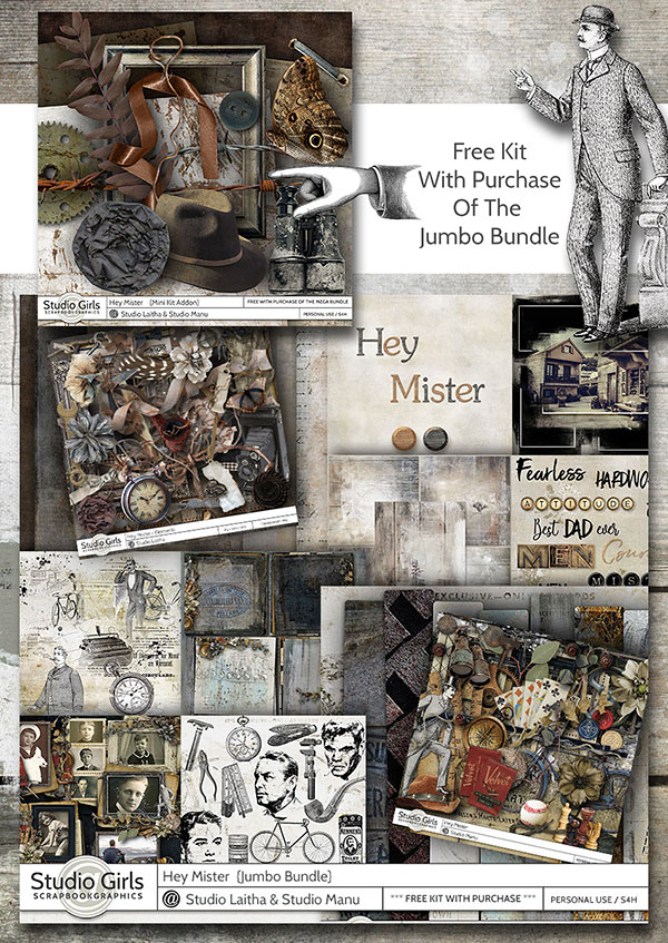Hey Mister Masculine Scrapbook Collection with Free Kit