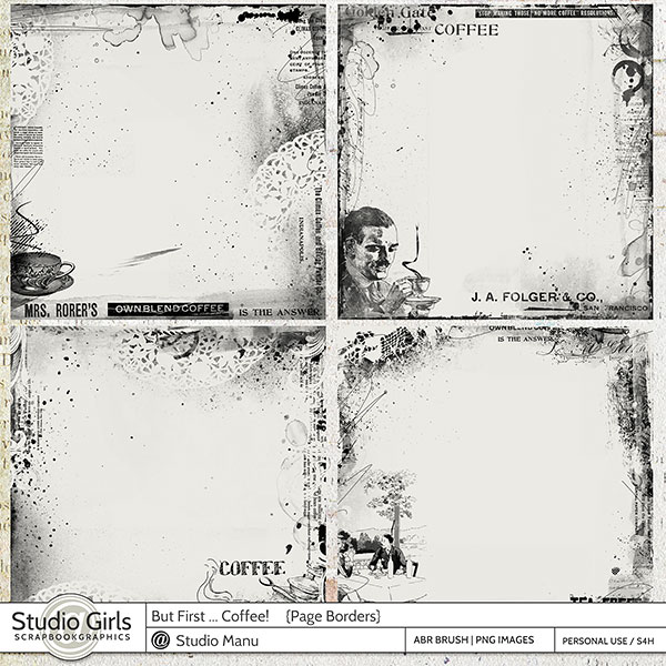 Scrapbooking Page Borders Coffee Theme