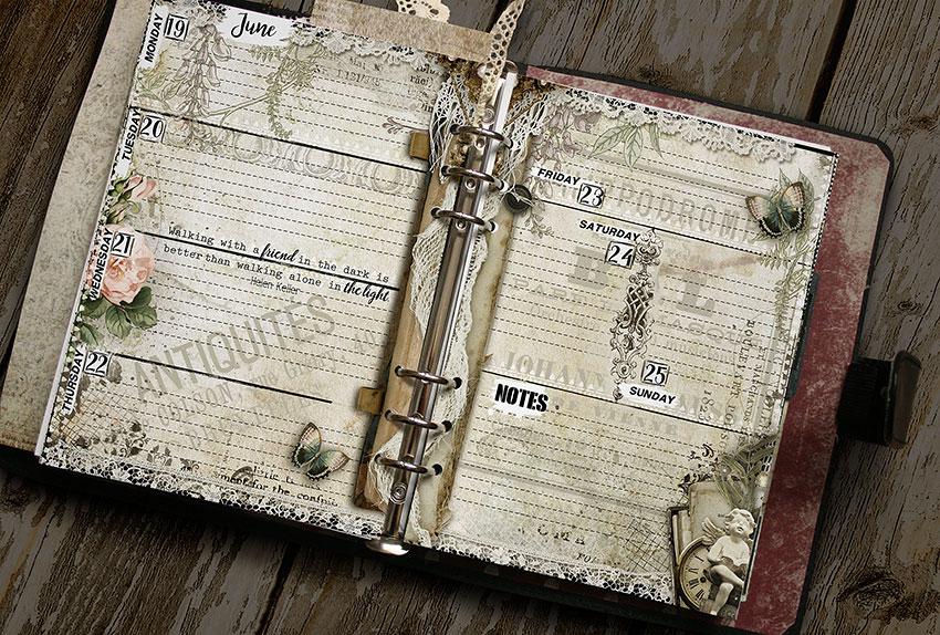 Printable vintage planner pages