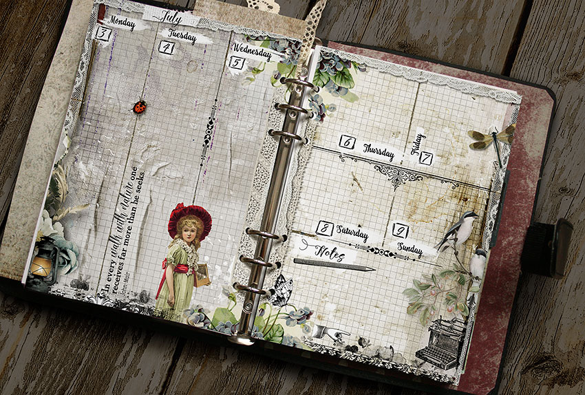 Printable vintage style planner pages
