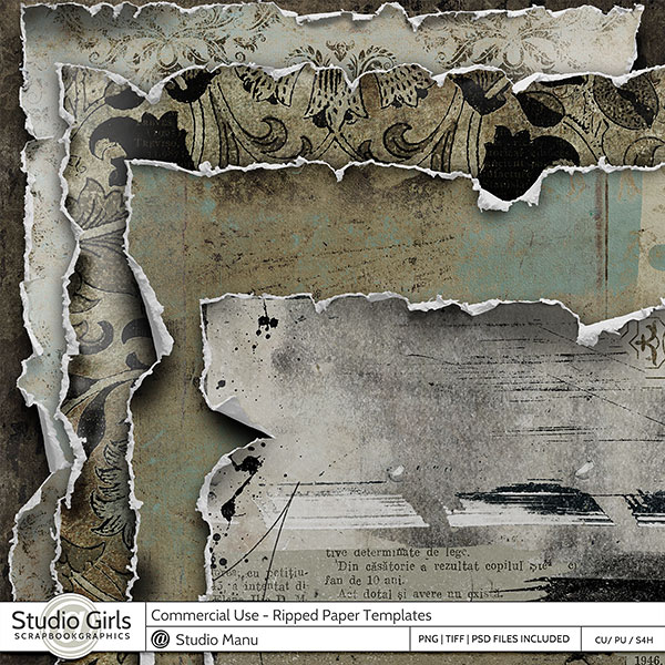 Commercial Use Ripped Paper Templates